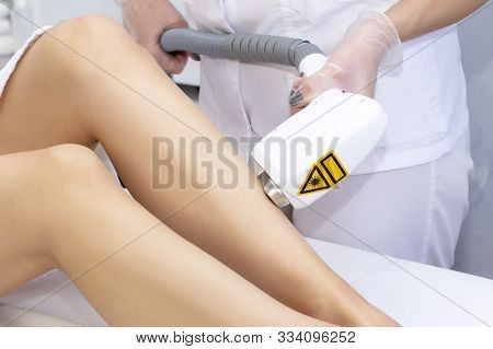 Laser Hair Removal Legs. Laser Epilation And Cosmetology. Hair Removal Cosmetology Procedure. Laser