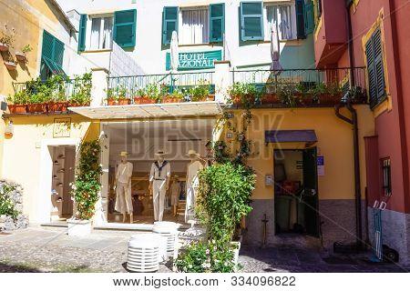 Portofino, Italy - September 13, 2019:famous Hotel Nazionale In Portofino Italy