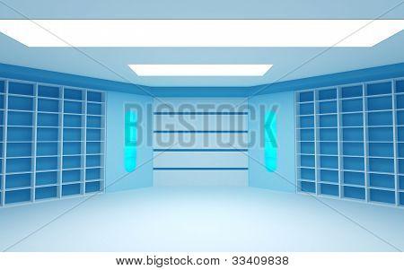 blue futuristic room