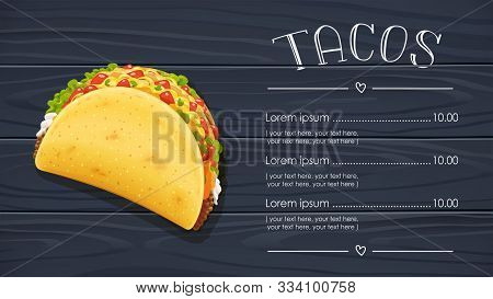 Tacos With Meat And Vegetable. Traditional Mexican Fast-food. Taco Mexico Food With Tortilla, Leaves