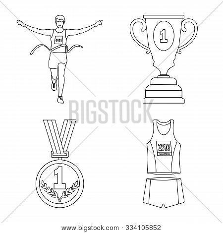 Isolated Object Of Exercise And Sprinter Logo. Collection Of Exercise And Marathon Stock Vector Illu