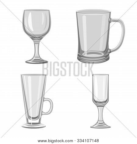 Vector Design Of Capacity And Glassware Logo. Collection Of Capacity And Restaurant Stock Symbol For