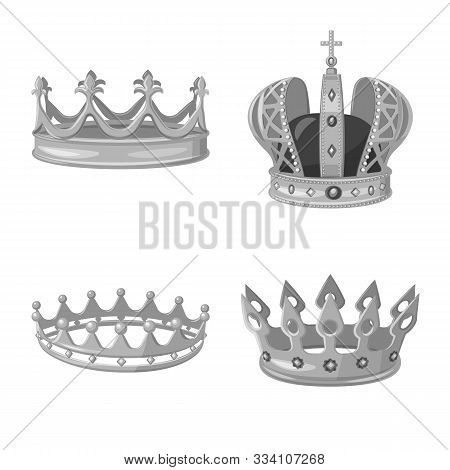 Vector Illustration Of Jewel And Vip Icon. Set Of Jewel And Nobility Stock Vector Illustration.