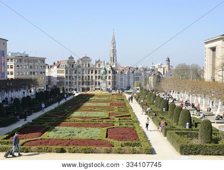 Brussels, Belgium - March 29, 2019: The Spire Of The Brussels City Hall Seen From The Mount Of The A