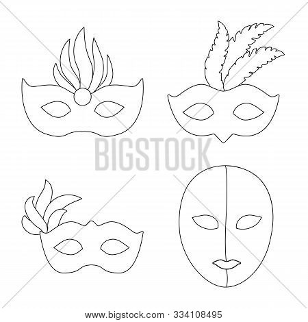 Vector Design Of Masquerade And Mystery Sign. Set Of Masquerade And Festival Stock Vector Illustrati