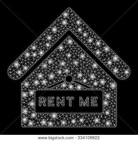 Glowing Mesh Rent Me With Glare Effect. Abstract Illuminated Model Of Rent Me Icon. Shiny Wire Carca