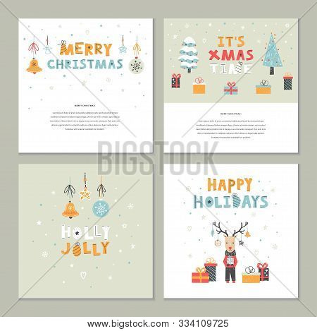 Christmas Set Of Vector Flat Hand Drawn Template With Cute Deer, Gift, Christmas Trees, Lettering, T
