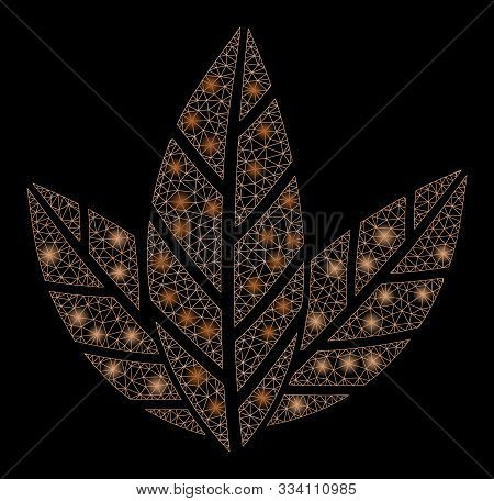 Flare Mesh Tobacco Leaves With Glow Effect. Abstract Illuminated Model Of Tobacco Leaves Icon. Shiny