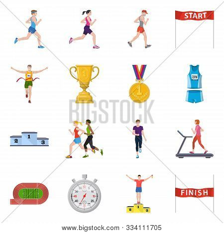 Vector Design Of Step And Sprint Logo. Set Of Step And Sprinter Stock Vector Illustration.