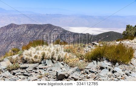 Views Of Death Valley And The Sierra Nevada Mountains From Wildrose Peak. Death Valley National Park
