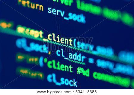 Code Of Programming Language On The Screen Of Laptop. Software Development. Programmer Coding Web Ap