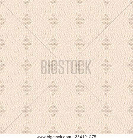 Seamless Cable Knit Beige Pattern. Christmas Backgroung