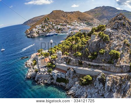 Aerial View Of Hydra Town In Hydra Island, Greece