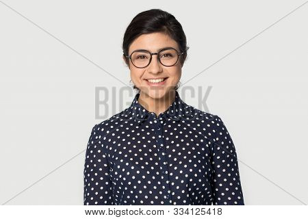 Headshot Portrait Beautiful Indian Young Woman In Glasses
