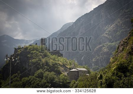 Saint-germain Castle And Church In Provaney (montjovet), Aosta Valley, Italy