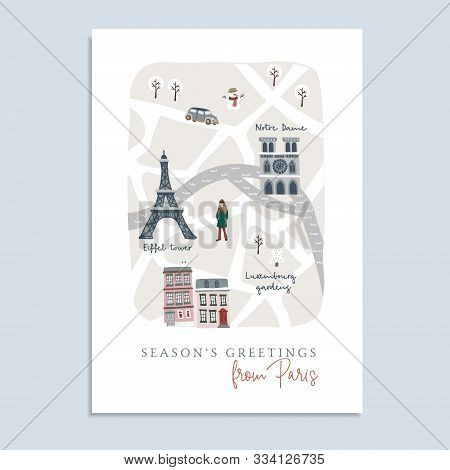 Cute Christmas Greeting Card, Invitation With Map Of Paris. Hand Drawn French Streets, Houses, Notre