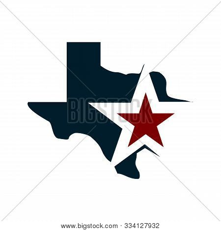 Texas Vector Map With Star In Blue And Red Flags Color, Illustration Vector Design Easy To Edit