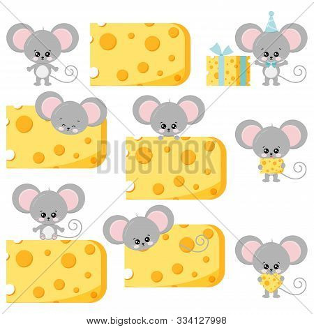 Cute Mouse And Cheese Vector Flat Set Isolated On White Background. Various Action Little Funny Rat