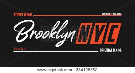 Nyc, Brooklyn Athletic T-shirt Design. New York Typography Graphics For Sport Apparel. Vector Illust