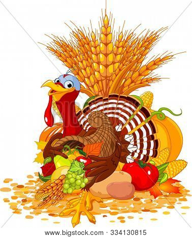Illustration of cute turkey with cornucopia