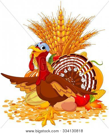 Illustration of cute turkey with harvest