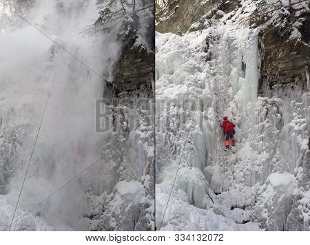 An Avalanche Is Coming Off, Training Of Athletes On The Frozen Famous Manyavsky Waterfall In Manyava