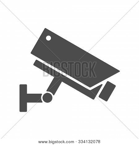 Videcam Silhouette Vector Icon Isolated On White Background. Video Surveillance Security Camera Flat
