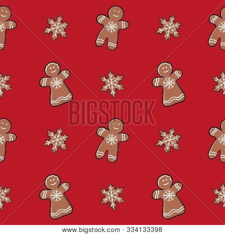 Seamless Christmas Pattern With Gingerbread. Endless Texture For Textile, Scrapbook, Wrapping Paper.