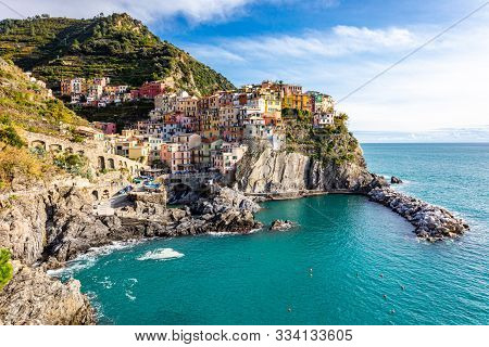 Manarola, One Of Famous Small Coastal Cliff Towns And Fishing Villages In Cinque Terre National Park