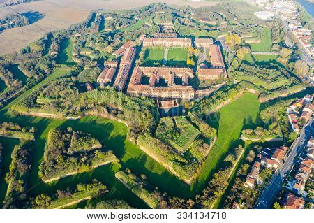 Aerial Helicopter View Of Walls, Moats, Bastions, Earthworks, Outworks And Barracks Of Modern Six-st