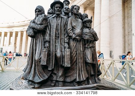 Rome, Italy - October 2019 : Boat Of Migrants Statue On Square Of San Pietro In Vatican Dedicated To