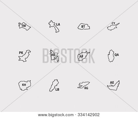 Cartography Icons Set. Afghanistan And Cartography Icons With Bhutan, Cambodia And Laos. Set Of Isla