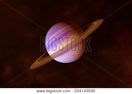 Planet Saturn, In Bright Colors, On A Dark Background. Elements Of This Image Were Furnished By Nasa