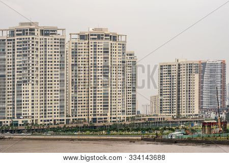 Ho Chi Minh City Vietnam - March 12, 2019: Song Sai Gon River. Dao Kim Curong White Apartment Towers
