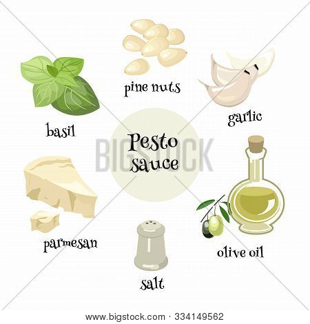 Set Of Italian Pesto Sause Ingredients. Pine Nuts, Garlic, Basil, Olive Oil,parmesan And Salt For Pr