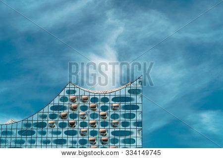 Hamburg, Germany - May 8, 2018: Elbphilharmonie In Hafencity District, Hamburg, Germany
