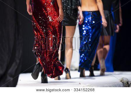Sofia, Bulgaria - 18, September 2019: Female Models Walk The Runway In Beautiful Designer Dresses Du