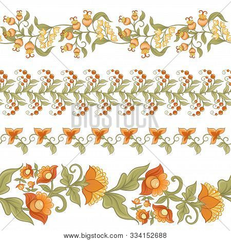 Tradition Mughal Motif, Fantasy Flowers In Retro, Vintage Style. Element For Design. Vector Illustra