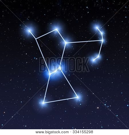 Orion constellation in night sky with bright blue stars