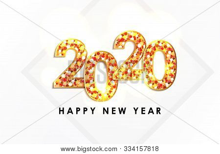 2020, Gold Text Of The Year 2020, Happy New Years 2020 Illustration Card, 2020 Text For Calendar New
