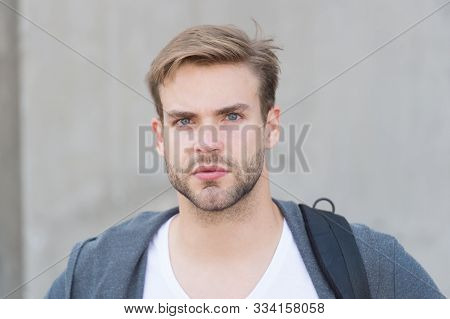 Depends Upon Your Choice. Student Unshaven Face Stylish Hairstyle. Bearded Man Casual Style. Portrai