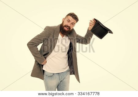 Man Bearded Guy Magician. Magic Trick Performance Concept. Circus Magic Trick Performance. Entertain