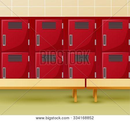 Locker Room Of Gym Or School Sport Changing Room