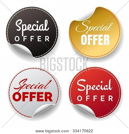 Consumers Special Offer Stickers. Round Sticker Set For Add Present, Advertisement Circular Price Ma