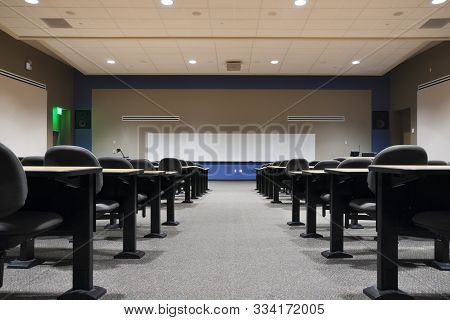 View From The Back Of An Empty College Lecture Hall