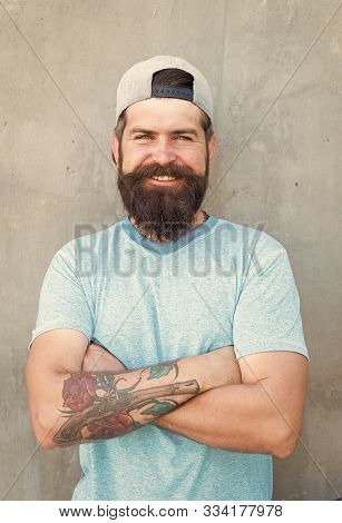 Guy Modern Outfit. Casual And Comfortable. Hipster Lifestyle. Cool Hipster With Beard Wear Stylish B