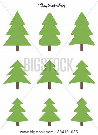 Set Of Vector Green Christmas Trees On White Background. Holiday Tree Ink Outline