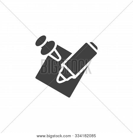 Felt Pen And Memo Paper Vector Icon. Filled Flat Sign For Mobile Concept And Web Design. Notepaper W