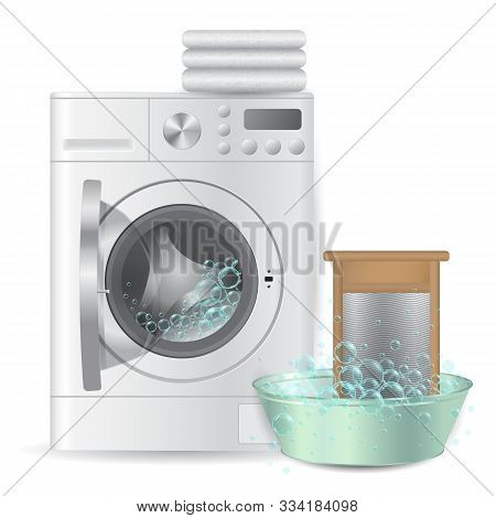 Realistic Automatic Open Washing Machine With Pile Of White Terry Towels And Ribbed Hand Washboard I