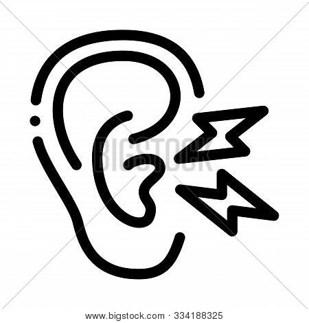 Earache Icon Vector. Outline Earache Sign. Isolated Contour Symbol Illustration